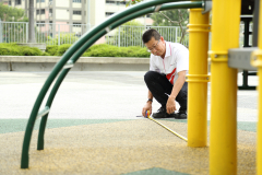 Taking measurement is part of playground inspection to ensure they are safe for use